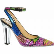 MOSCHINO Jeremy Scott Sequin Leather Carwash Pumps Heels Shoes